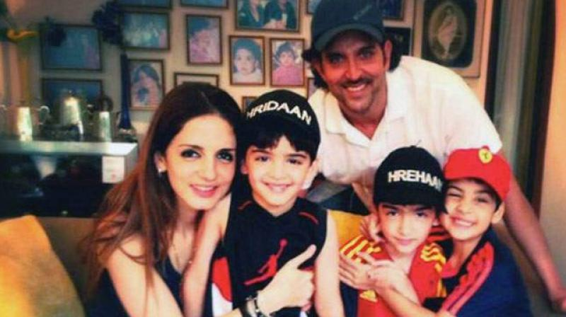 Hrithik roshan with his Ex wife and childrens