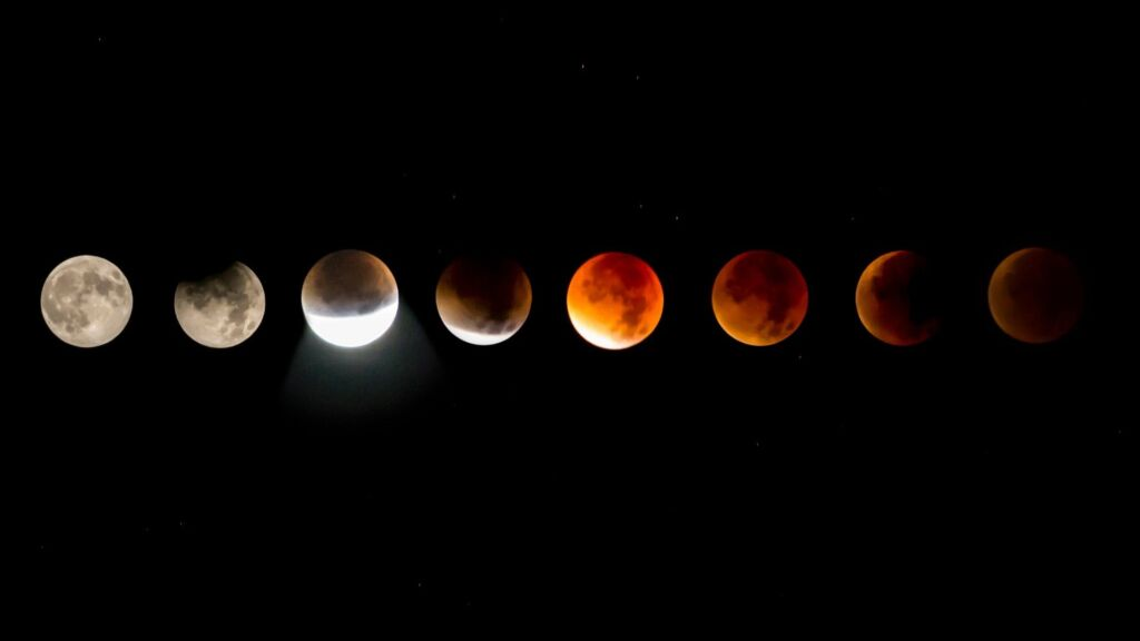 Different positions of moon during eclipse