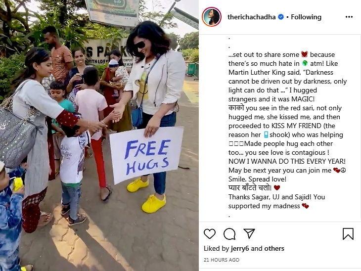 Richa chadda hugs people