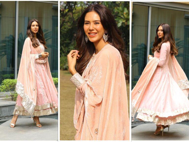 Sonam Bajwa Slays In Her Latest Peach Coloured Anarkali Suit