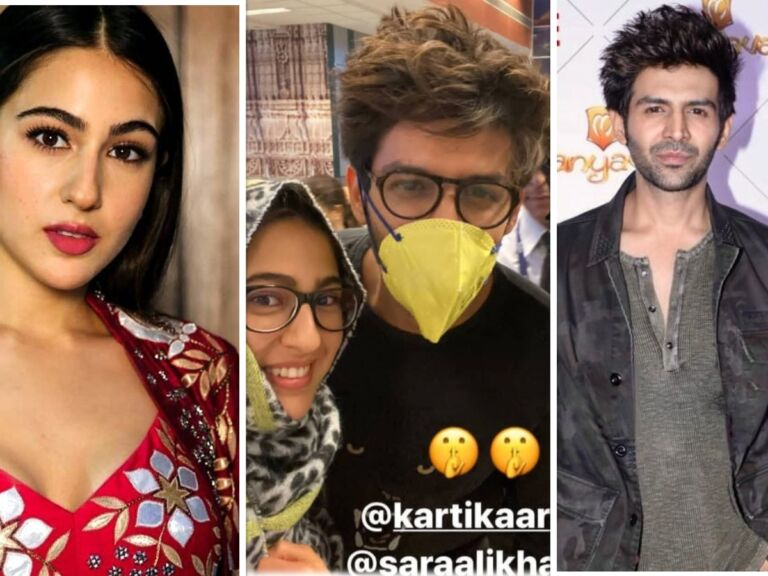 Sara Ali Khan Partially Covers Her Face, Kartik Aryan Wears A Mask At Ahmedabad Airport