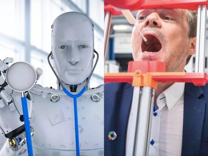 Robots conducting corona test
