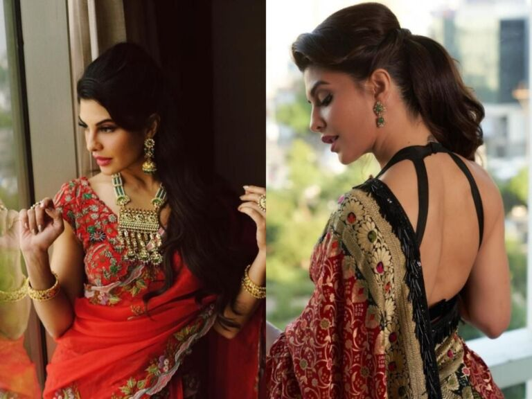 Srilankan Beauty Jacqueline Fernandes Stunning Looks In  Saree That You Can't-Miss Out