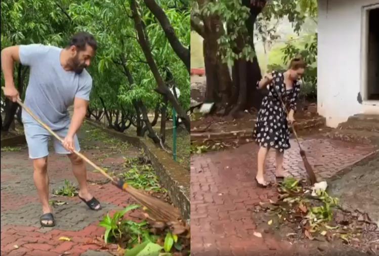 Salman Khan With Yulia Vantur Sweeping Farm House: Viral Video