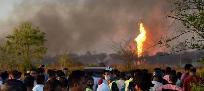 Massive Fire At Oil Well In Assam