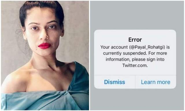 Payal Rohatgi Twitter Account Suspended For No Reason