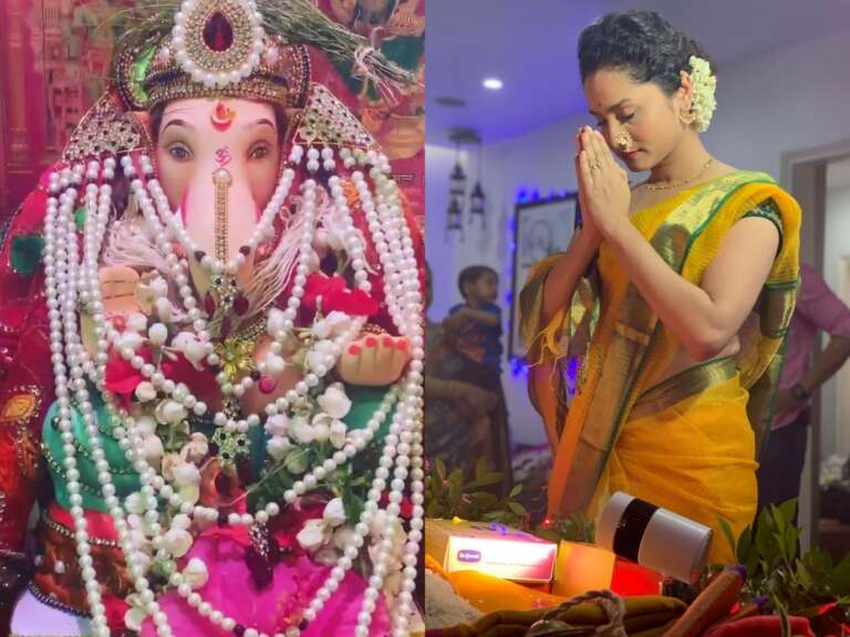Ankita Lokhande Prays For Sushant At Her House In Front Of Ganesha