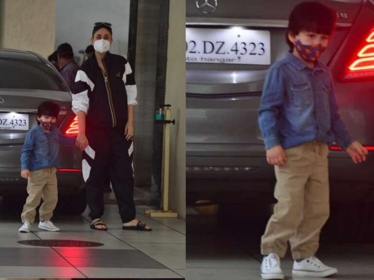 Kareena Kapoor, Looks Stylish In Track Suit But Son Taimur Grabs The Eyeballs