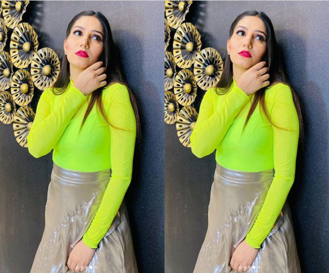 Sapna Chaudhary Flaunting In Fluorescent Top And Metallic Skirt
