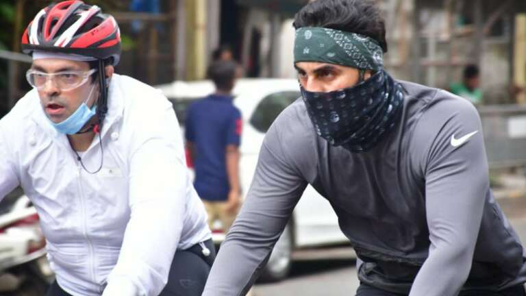 Ranbir Kapoor Snapped Out  Cycling With His Buddies On Sunday