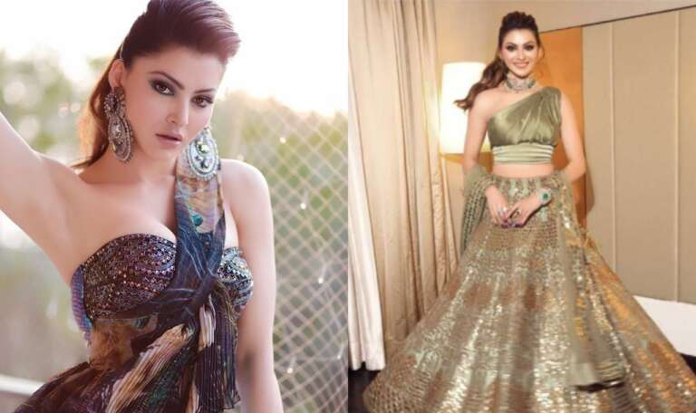 Worth Of Urvashi Rautela's Laxer Cut Leather Lehenga At Neha Kakkar's Wedding