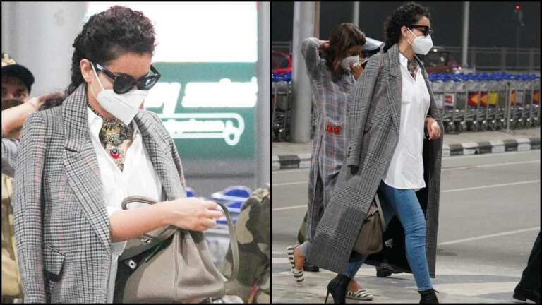 Kangana's Stylish Airport Look: Actress Spotted At Hyderabad