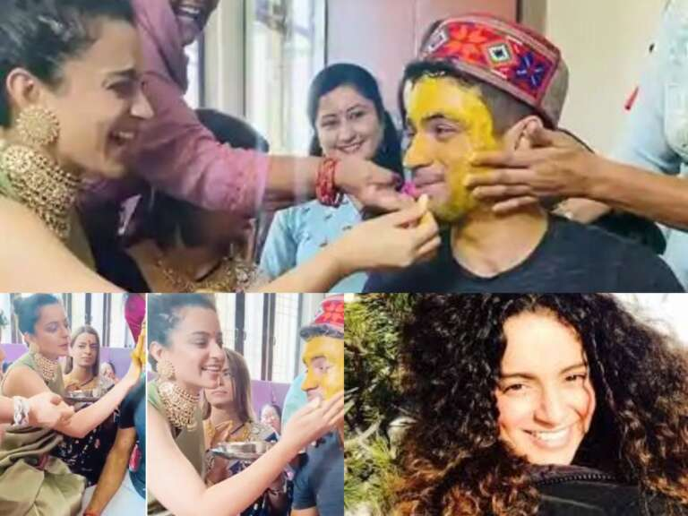 Kangana Ranaut Rubs Haldi on Brother Aksht's Face: Watch Video