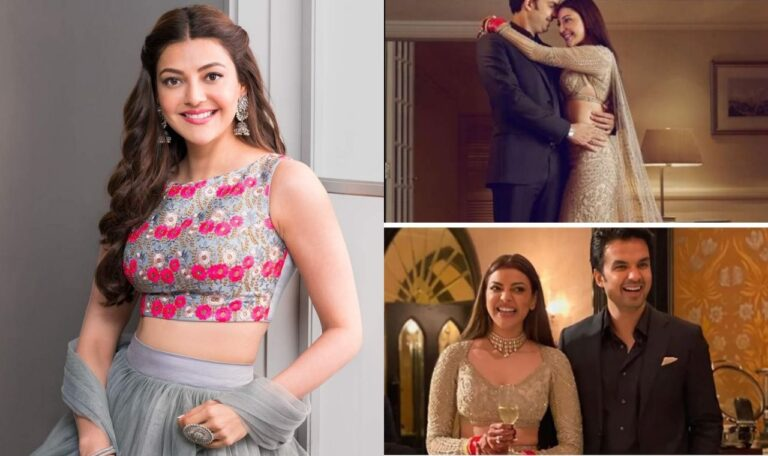 Kajal Aggarwal Posted Her Pics In Gold Falguni Shane Peacock Outfit