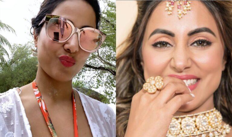 Hina Khan Ready To Set The Mercury Soaring In Pink Lehenga And Matching Sun Glasses