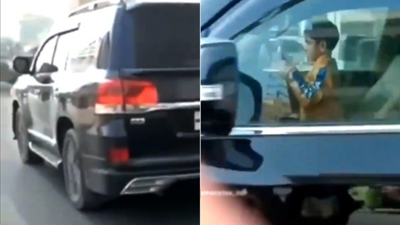 video of 5 year old kid driving SUV