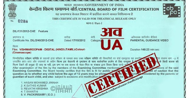 U, A, UA And S Certificates Of The Censor Board