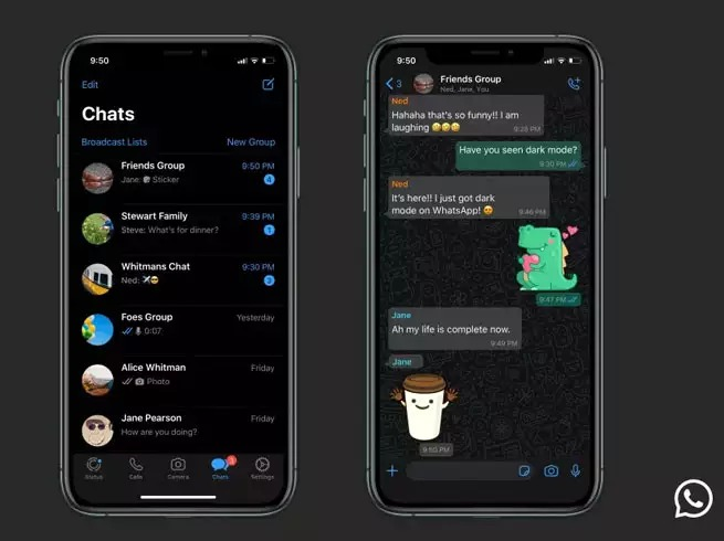 Whatsapp Dark mode launched on iOS