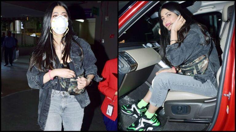 Shruti Haasan Captured At Mumbai Airport Rocking The Mask