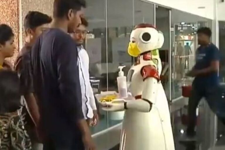 These Two Robots Are Distributing Sanitizers & Awareness About Coronavirus In Kerala