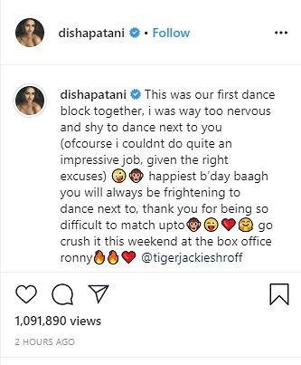 disha patani wishes tiger