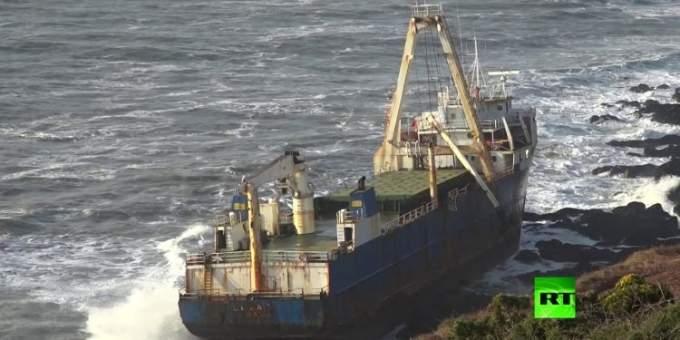 Storm Dennis washes ghost ship up on to Cork shore
