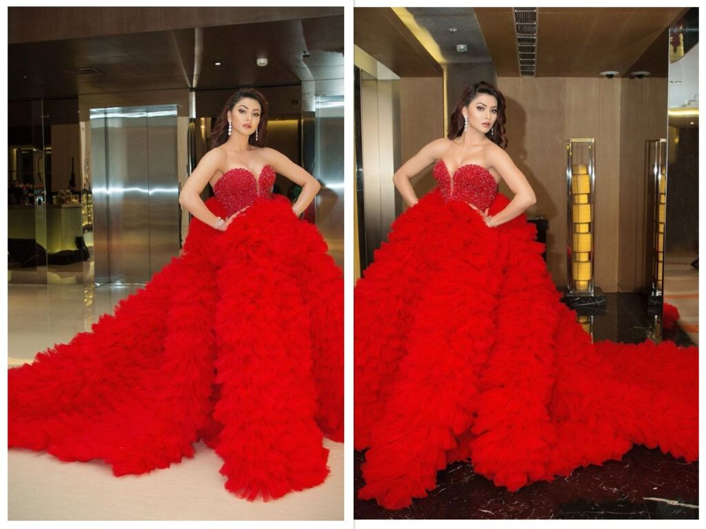 urvashi rautela wears red gown sits on 4 chairs filmfare 2020