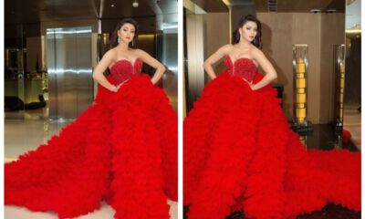 urvashi rautela wear red gown in filmfare